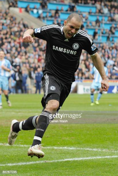 Alex of Chelsea celebrates as he scores their second goal during the FA Cup Sponsored by EON 6th round match between Coventry City and Chelsea at the...