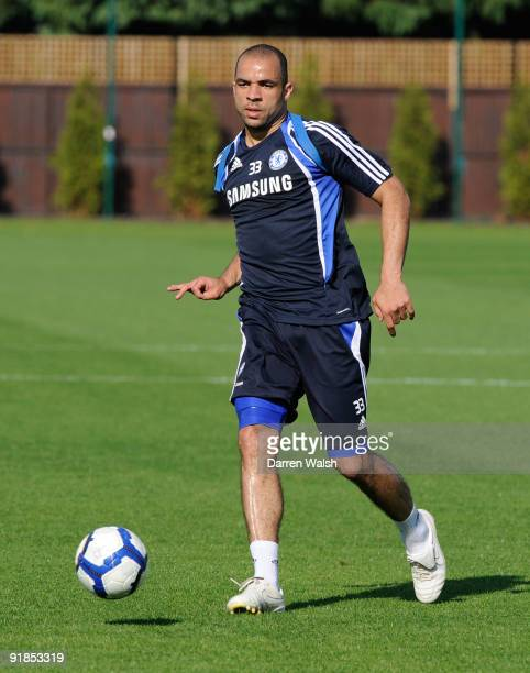 Alex of Chelsea during training today at Cobham training ground on October 13, 2009 in Cobham, England. Alex has signed a four year contract with the...