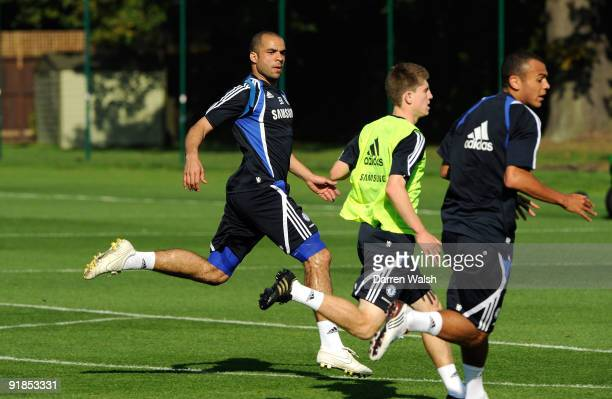 Alex of Chelsea during training today at Cobham training ground on October 13 2009 in Cobham England Alex has signed a four year contract with the...