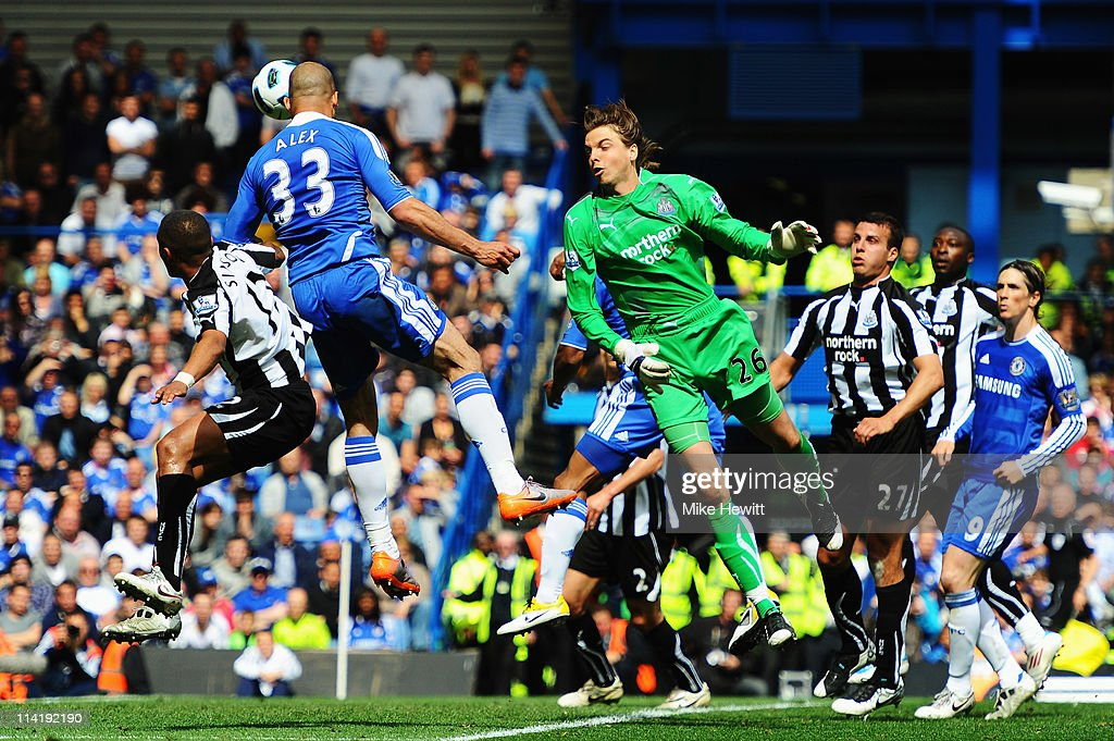 Alex (L) of Chelsea scores his sides second goal as Tim Krul the Newcastle United goalkeeper fails to claim the ball during the Barclays Premier League match between Chelsea and Newcastle United at Stamford Bridge on May 15, 2011 in London, England.