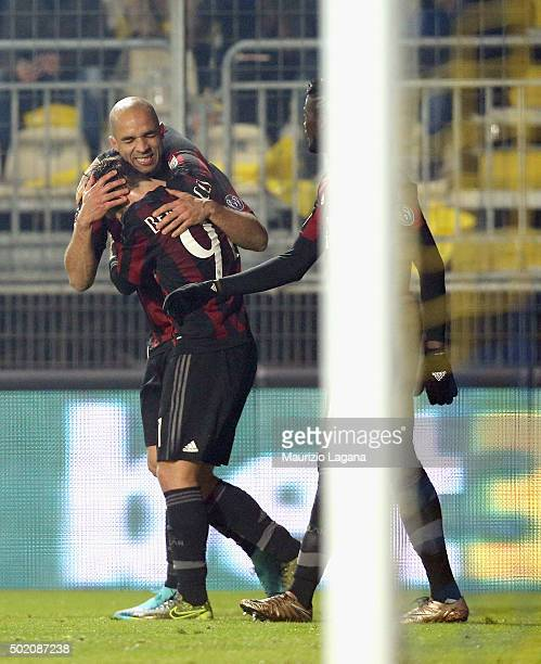 Alex of Milan celebrates after scoring his team's third goal during the Serie A match between Frosinone Calcio and AC Milan at Stadio Matusa on...