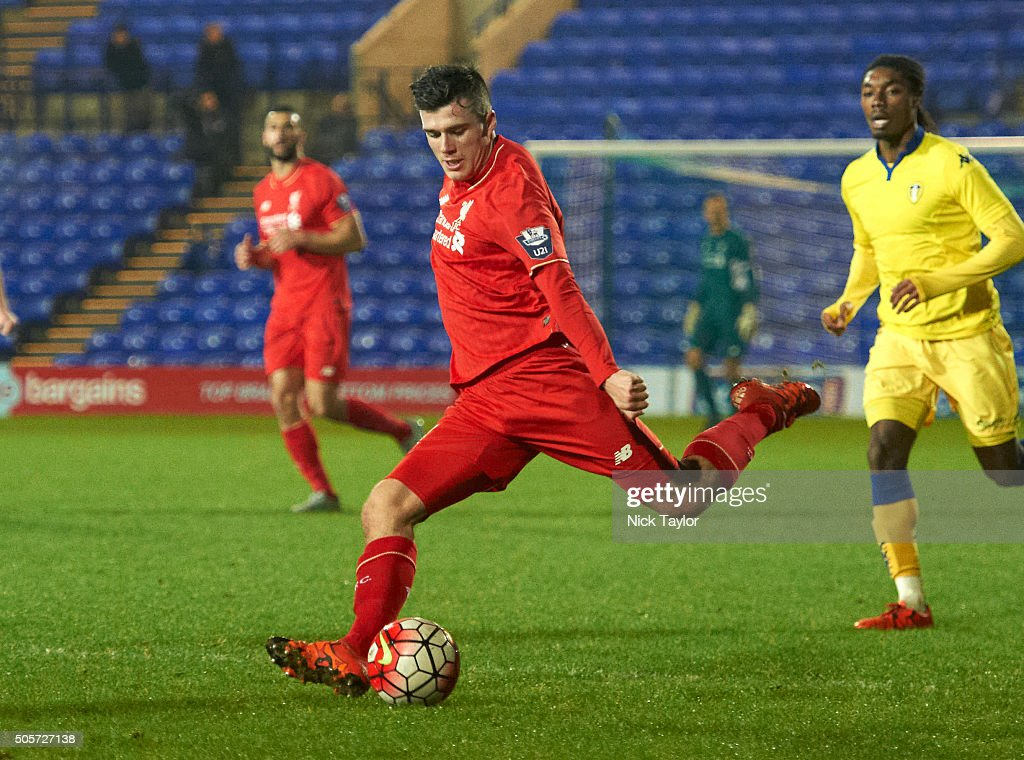 Alex O'Hanlon of Liverpool in action during the Liverpool v Leeds United U21 Premier League Cup game at Prenton Park on January 19, 2016 in Birkenhead, England.