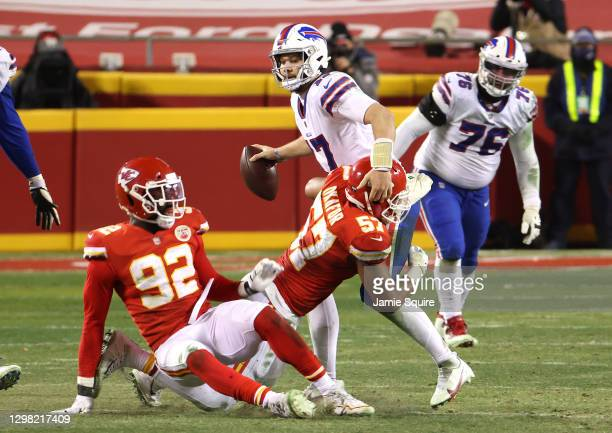 Alex Okafor of the Kansas City Chiefs sacks Josh Allen of the Buffalo Bills in the fourth quarter during the AFC Championship game at Arrowhead...