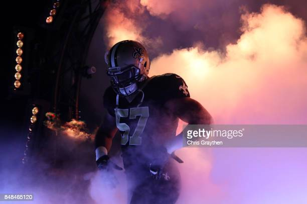 Alex Okafor of the New Orleans Saints is introdouced prior to the game against the New England Patriots at the MercedesBenz Superdome on September 17...