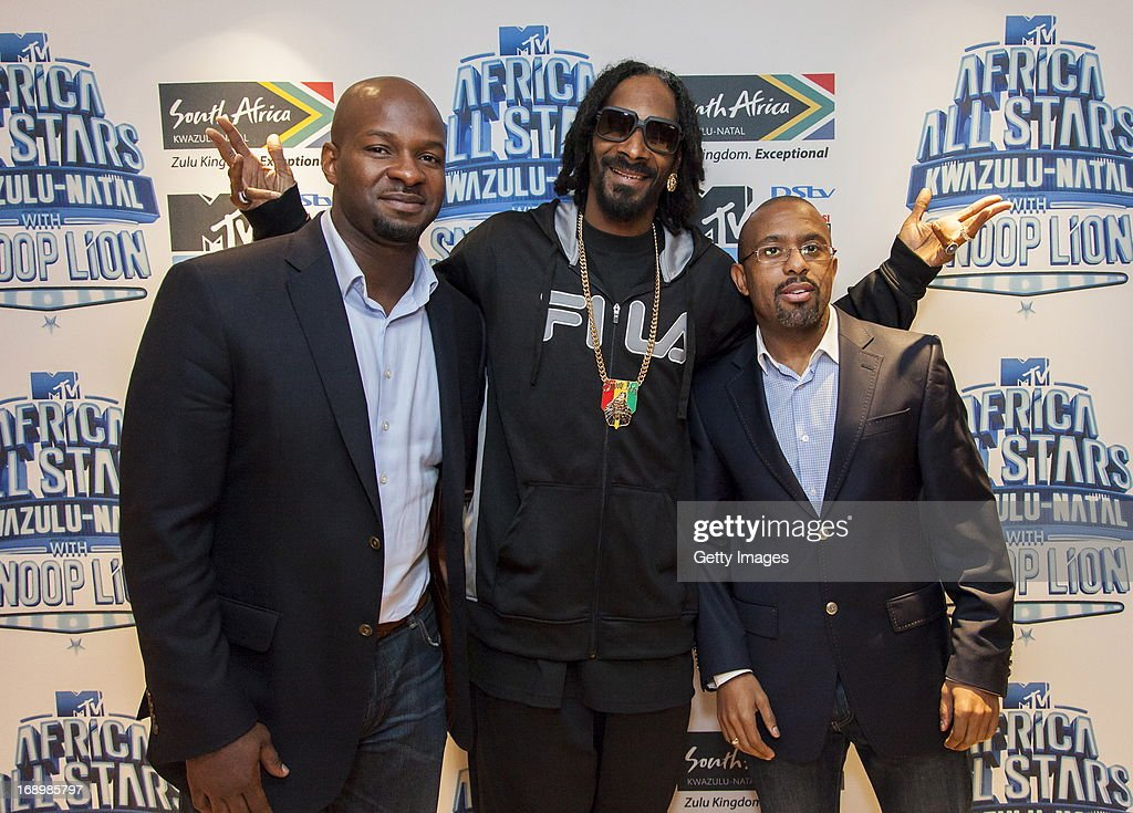 Alex Okosi, Snoop Lion and Desmond Golding pictured at the press conference for MTV Africa All Stars KwaZulu-Natal with Snoop Lion at Beverly Hills Hotel on May 17, 2013 in Durban, South Africa.