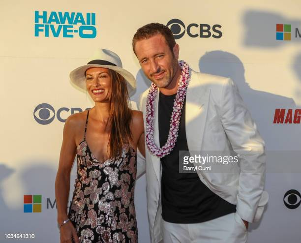 Alex OLoughlin and his wife surfer Malia Jones attend the Sunset On The Beach event celebrating the 50th anniversary of 'Hawaii Five0' and the...