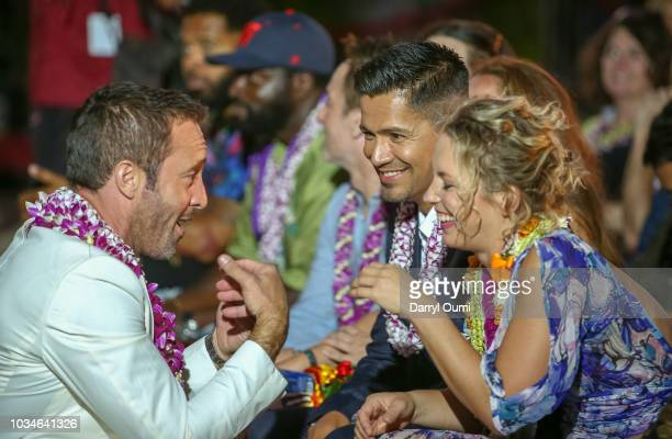 Alex O'Loughlin Jay Hernandez and Perdita Weeks chat before the Sunset On The Beach event celebrating the 50th anniversary of 'Hawaii Five0' and the...