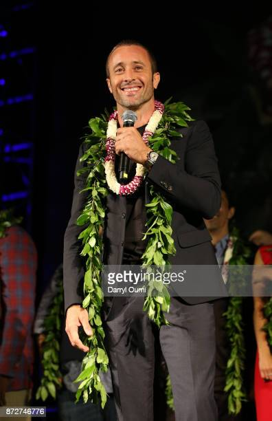 Alex O'Loughlin speaks before the Sunset on the Beach event celebrating season 8 of Hawaii Five0 at Queen's Surf Beach on November 10 2017 in Waikiki...