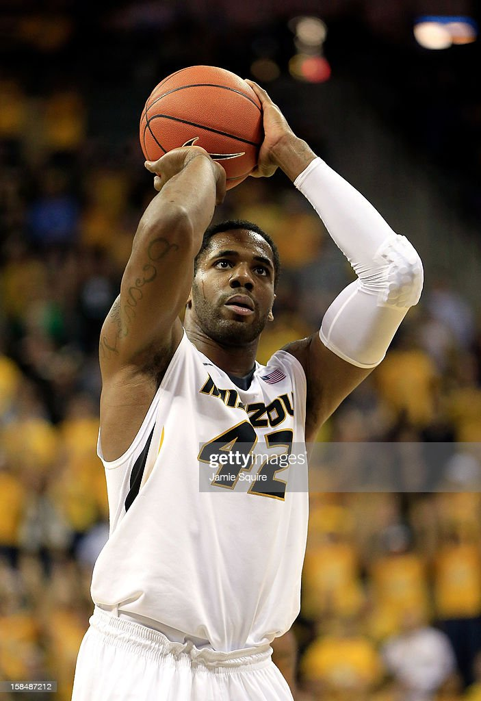 Alex Oriakhi #42 of the Missouri Tigers shoots a free throw during the game against the South Carolina State Bulldogs at Mizzou Arena on December 17, 2012 in Columbia, Missouri.
