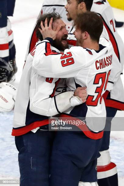 Alex Ovechkin and Alex Chiasson of the Washington Capitals celebrate their 43 win over the Vegas Golden Knights to win the Stanley Cup in Game Five...