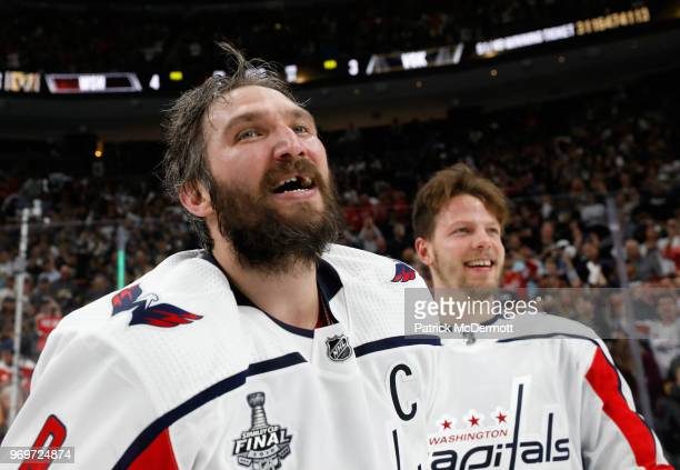 Alex Ovechkin and Alex Chiasson of the Washington Capitals smile about winning the Stanley Cup after the Capitals defeated the Vegas Golden Knights...