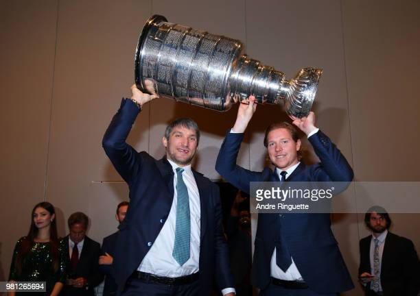Alex Ovechkin and Nickals Backstrom of the Washington Capitals arrive with the Stanley Cup at the 2018 NHL Awards presented by Hulu at the Hard Rock...