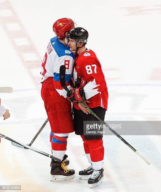 Alex Ovechkin and Sidney Crosby shake hands following Team Canada's 53 victory to move on to the finals during the World Cup of Hockey at the...