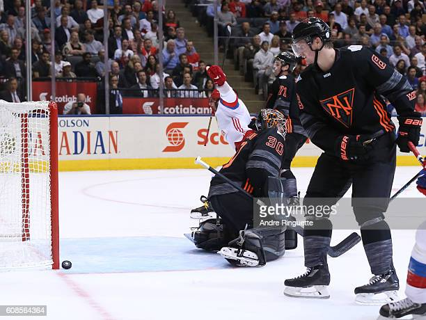 Alex Ovechkin celebrates as Team Russia scores a second period goal on Matt Murray of Team North America during the World Cup of Hockey 2016 at Air...