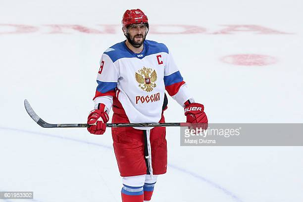 Alex Ovechkin of Russia in action during the 2016 World Cup of Hockey preparation match between Czech Republic and Russia at O2 Arena Prague on...