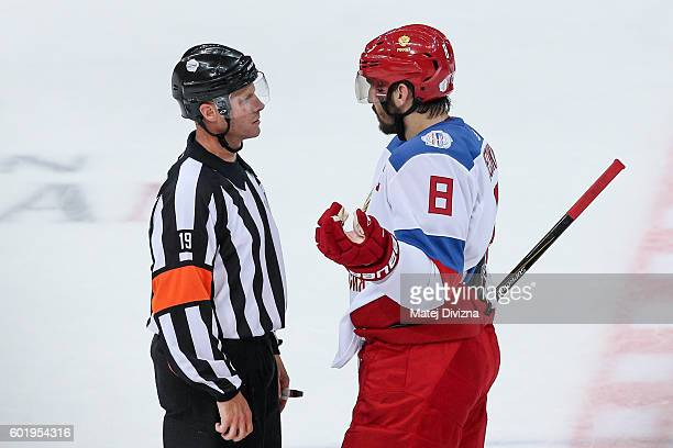 Alex Ovechkin of Russia speaks with referee during the 2016 World Cup of Hockey preparation match between Czech Republic and Russia at O2 Arena...