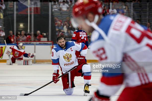 Alex Ovechkin of Russia warms up before the 2016 World Cup of Hockey preparation match between Czech Republic and Russia at O2 Arena Prague on...