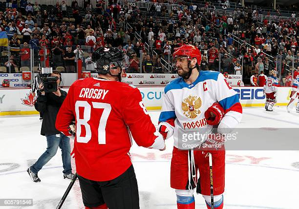 Alex Ovechkin of Team Russia and Sidney Crosby of Team Canada shake hands after the game at Consol Energy Center on September 14 2016 in Pittsburgh...