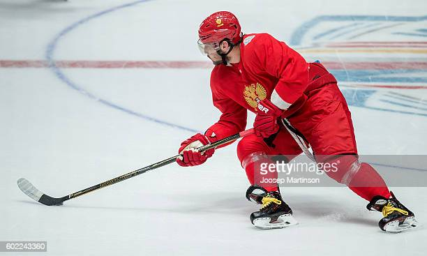 Alex Ovechkin of Team Russia handles the puck during Team Russia training prior to World Cup Of Hockey 2016 session at Yubileyny Sports Palace on...