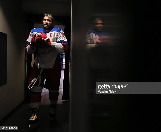 Alex Ovechkin of Team Russia leaves the ice after warm up prior to a game against Team Canada at the semifinal game during the World Cup of Hockey...