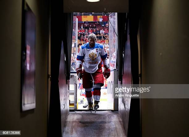Alex Ovechkin of Team Russia leaves the ice after warms up prior to a game against Team North America during the World Cup of Hockey 2016 at Air...