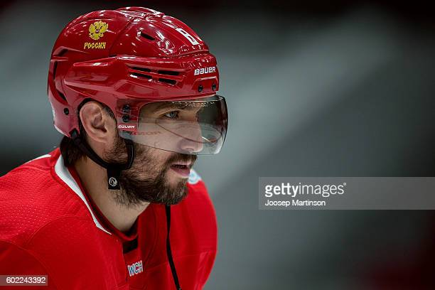 Alex Ovechkin of Team Russia looks on during Team Russia training prior to World Cup Of Hockey 2016 session at Yubileyny Sports Palace on September 7...