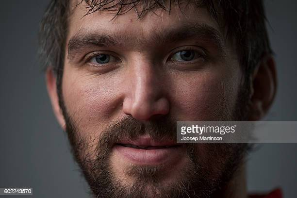 Alex Ovechkin of Team Russia poses for a photo after Team Russia training prior to World Cup Of Hockey 2016 session at Yubileyny Sports Palace on...