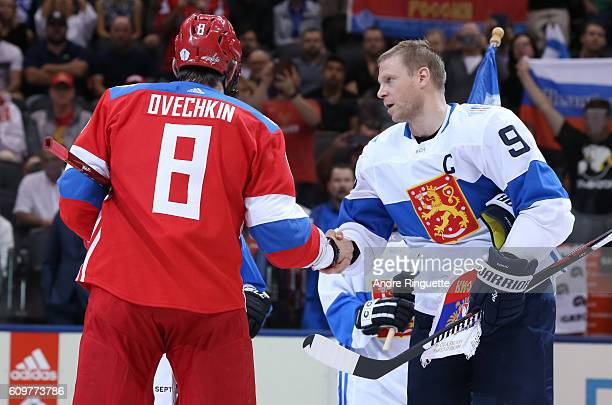 Alex Ovechkin of Team Russia shakes hands with Mikko Koivu of Team Finland during the World Cup of Hockey 2016 at Air Canada Centre on September 22...