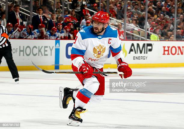 Alex Ovechkin of Team Russia skates against the Team Canada at Consol Energy Center on September 14 2016 in Pittsburgh Pennsylvania