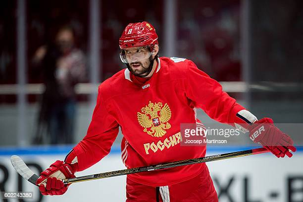 Alex Ovechkin of Team Russia skates up the ice during Team Russia training prior to World Cup Of Hockey 2016 session at Yubileyny Sports Palace on...