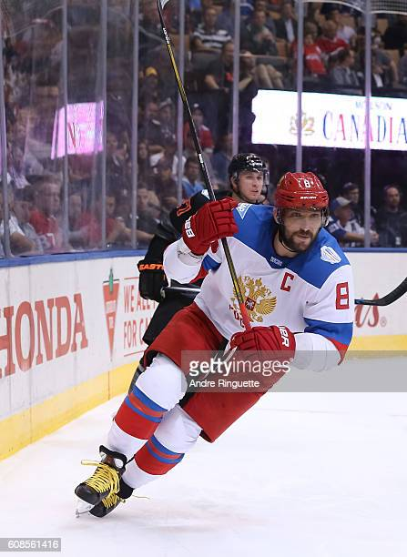 Alex Ovechkin of Team Russia turns to skate up ice against Team North America during the World Cup of Hockey 2016 at Air Canada Centre on September...