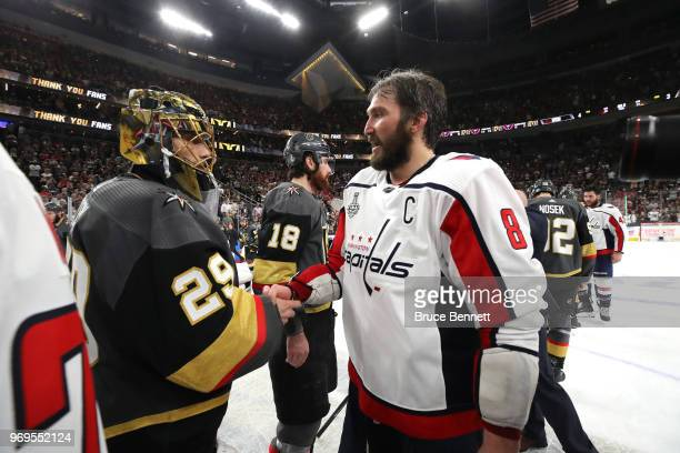 Alex Ovechkin of the Washington Capitals and MarcAndre Fleury of the Vegas Golden Knights shake hands after Game Five of the 2018 NHL Stanley Cup...