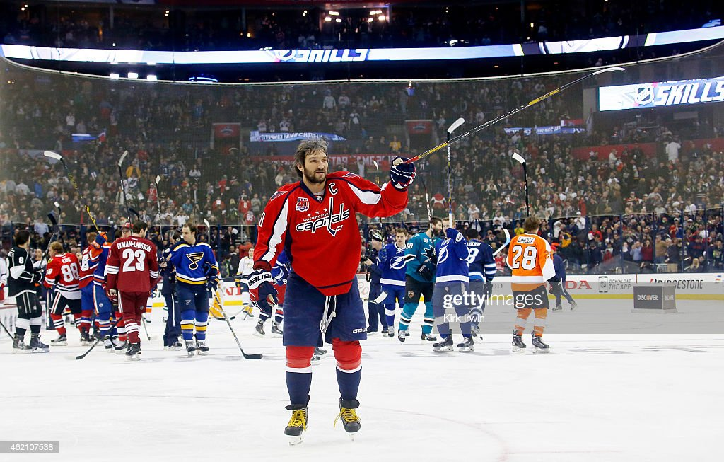 Alex Ovechkin #8 of the Washington Capitals and Team Foligno after defeating Jonathan Toews #19 of the Chicago Blackhawks and Team Toews after the Discover NHL Shootout event of the 2015 Honda NHL All-Star Skills Competition at Nationwide Arena on January 24, 2015 in Columbus, Ohio.