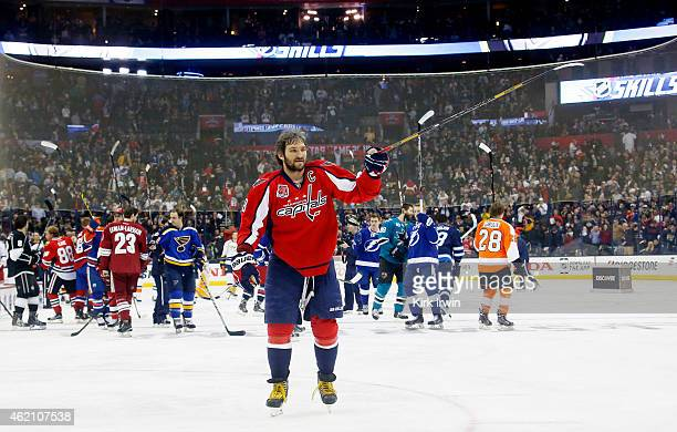 Alex Ovechkin of the Washington Capitals and Team Foligno after defeating Jonathan Toews of the Chicago Blackhawks and Team Toews after the Discover...