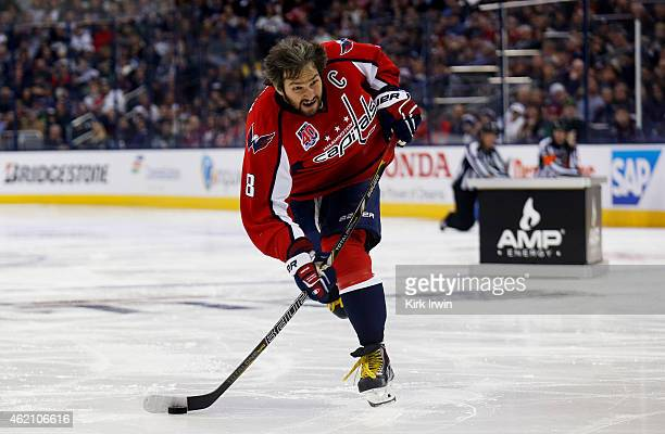 Alex Ovechkin of the Washington Capitals and Team Foligno competes during the AMP NHL Hardest Shot event of the 2015 Honda NHL AllStar Skills...