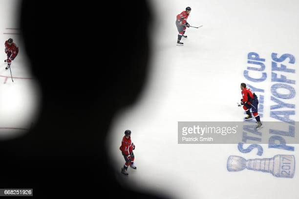 Alex Ovechkin of the Washington Capitals and teammates warms up before playing the Toronto Maple Leafs in Game One of the Eastern Conference First...