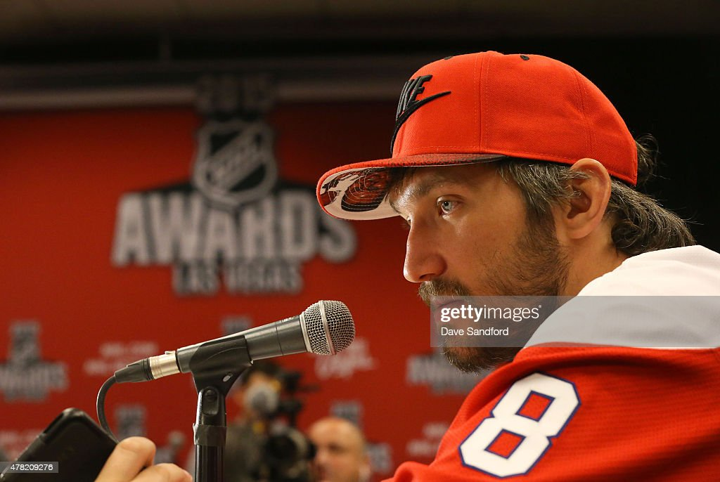 Alex Ovechkin of the Washington Capitals attends the 2015 NHL Awards nominee media availability at the MGM Grand Garden Arena on June 23, 2015 in Las Vegas, Nevada.