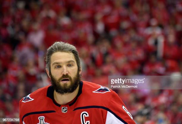 Alex Ovechkin of the Washington Capitals attends warm ups before Game Three of the 2018 NHL Stanley Cup Final against the Vegas Golden Knights at...
