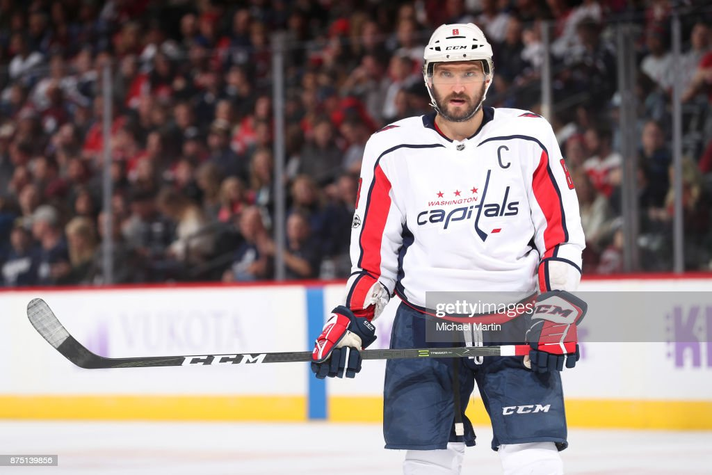 Alex Ovechkin #8 of the Washington Capitals awaits a face-off during a break in the action against the Colorado Avalanche at the Pepsi Center on November 16, 2017 in Denver, Colorado. The Avalanche defeated the Capitals 6-2.