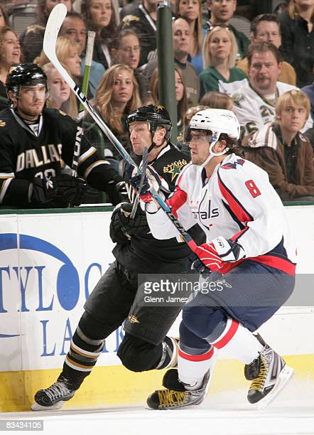 Alex Ovechkin of the Washington Capitals battles for position against Brenden Morrow of the Dallas Stars on October 25 2008 at the American Airlines...