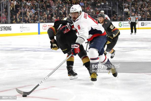 Alex Ovechkin of the Washington Capitals carries the puck against the Vegas Golden Knights during the third period in Game Five of the 2018 NHL...