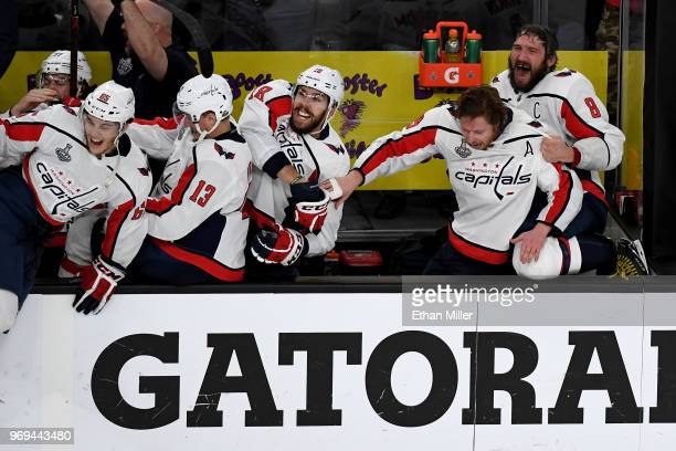 Alex Ovechkin of the Washington Capitals celebrate his team's 43 win over the Vegas Golden Knights to win the Stanley Cup in Game Five of the 2018...