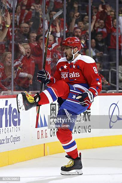 Alex Ovechkin of the Washington Capitals celebrates a goal against the Winnipeg Jets during the second period at Verizon Center on November 3 2016 in...