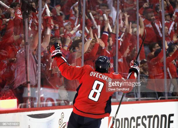 Alex Ovechkin of the Washington Capitals celebrates a goal by teammate Tom Wilson during the first period of Game Four of the 2018 NHL Stanley Cup...