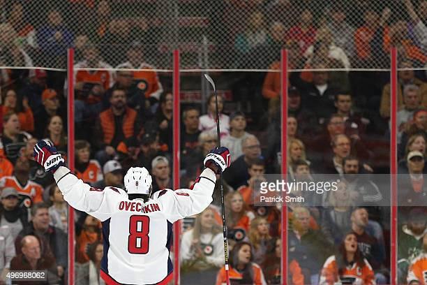 Alex Ovechkin of the Washington Capitals celebrates a teammates goal against the Philadelphia Flyers at Wells Fargo Center on November 12 2015 in...