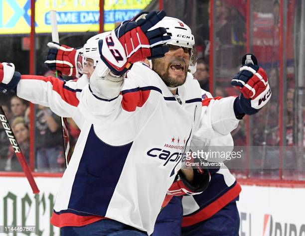 Alex Ovechkin of the Washington Capitals celebrates after an apparent goal in the third period of Game Six of the Eastern Conference First Round...