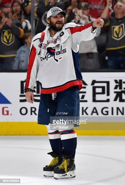 Alex Ovechkin of the Washington Capitals celebrates after defeating the Vegas Golden Knights in Game Five of the Stanley Cup Final during the 2018...