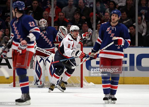 Alex Ovechkin of the Washington Capitals celebrates after he scored a second period goal against the New York Rangers in Game Three of the Eastern...