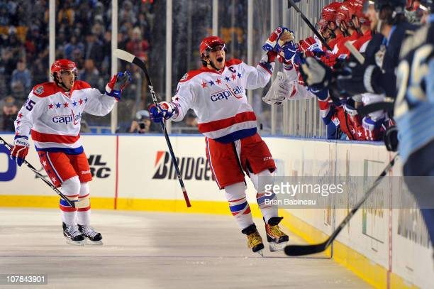 Alex Ovechkin of the Washington Capitals celebrates after Mike Knuble scored a goal against the Pittsburgh Penguins in the 2nd period during the 2011...
