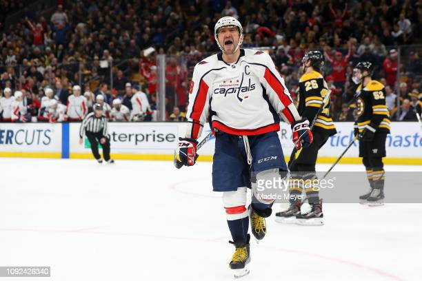 Alex Ovechkin of the Washington Capitals celebrates after scoring a goal against the Boston Bruins during the second period at TD Garden on January...